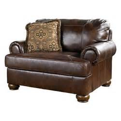 Ashley Furniture Chair And A Half Axiom Leather Chair And A Half Walnut