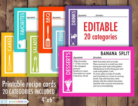 editable printable recipe cards free printable recipe cards 4x6 recipe cards editable recipe