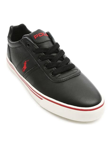 black polo sneakers polo ralph hanford black leather low sneakers in