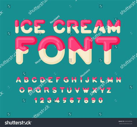 printable melting font ice cream font popsicle alphabet cold stock vector
