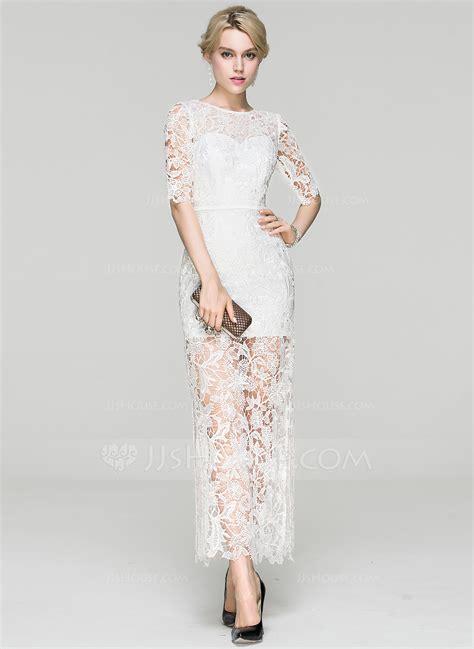 Sheath/Column Scoop Neck Ankle Length Lace Cocktail Dress