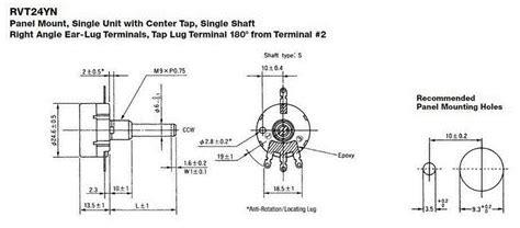 potentiometer tocos rv24yn20s 1k 2k 5k 10k 20k 50k 100k