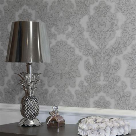 feature wallpaper for grey walls arthouse vicenza damask wallpaper feature wall taupe