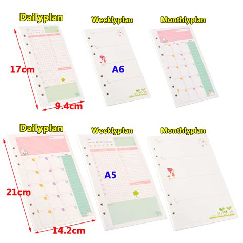 A5 A6 Schedule Leaf Insert 45 sheets a5 a6 daily colourful planner diary insert
