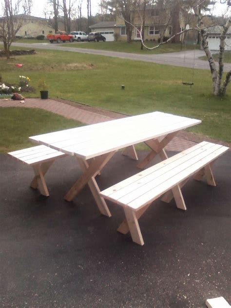 picnic table  detached benches build  picnic table