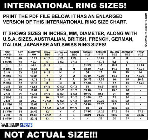 Printable Ring Size Chart Usa