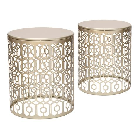 gold metal end table joveco metal iron structure stool end table side