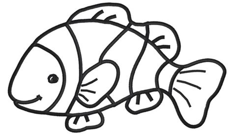 Clown Fish Outline Clipart Best Clown Fish Coloring Page