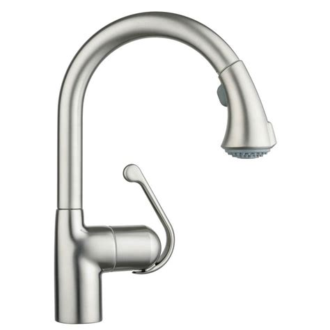 grohe kitchen faucet grohe zedra supersteel infinity finish 1 handle pull kitchen faucet lowe s canada