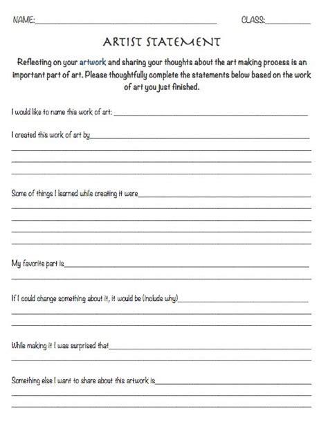 art design questions resource artist statement worksheet reflection sheet