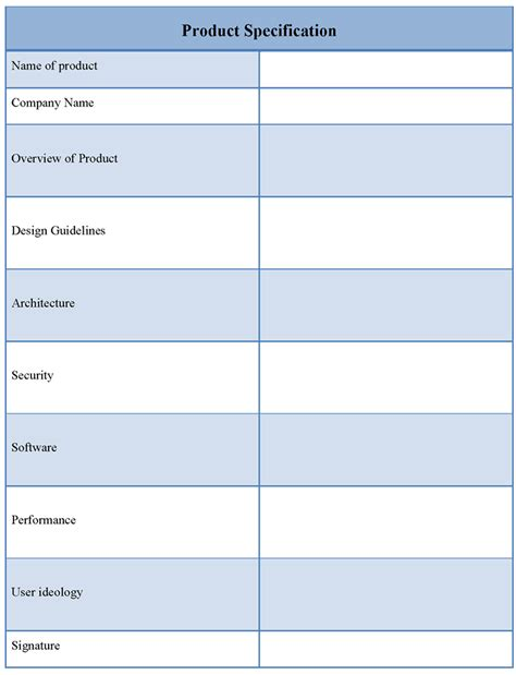 product template for specification document format of