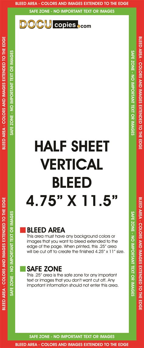 half sheet template learn about printing your next project with bleeds