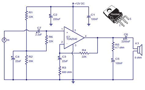what is a network integrated circuit tda2040 car stereo lifier circuit simple schematic diagram