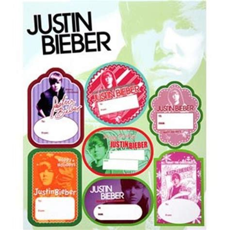 official justin bieber christmas gift tag 35 stickers