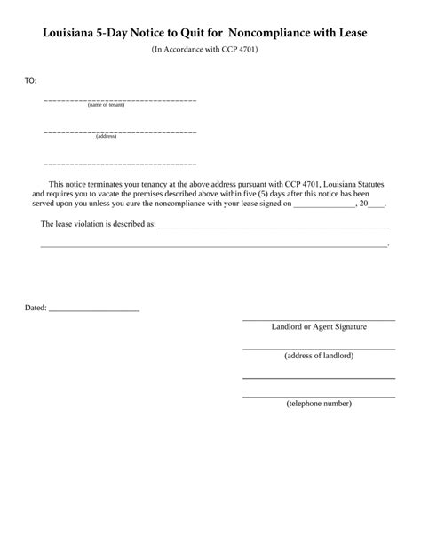 Free Louisiana 5 Day Notice To Quit Form Non Compliance Pdf Eforms Free Fillable Forms Free Louisiana Eviction Notice Template