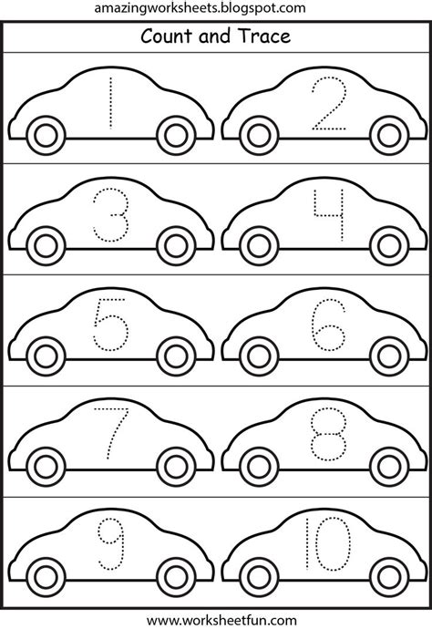 Free Tracing Numbers 1 10 Worksheets by Lots Of Worksheets For All Themes Cars Number Tracing