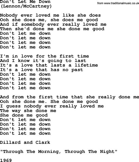 song t don t let me down by the byrds lyrics with pdf