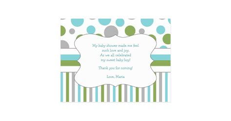 Thank You Note For Office Baby Shower by Blue Green Baby Shower Thank You Note W Poem 3471 Postcard