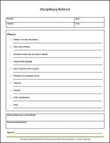 student discipline form template classroom disciplinary referral