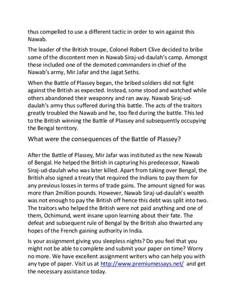 essay format la trobe sle essay on the facts about the battle of plassey