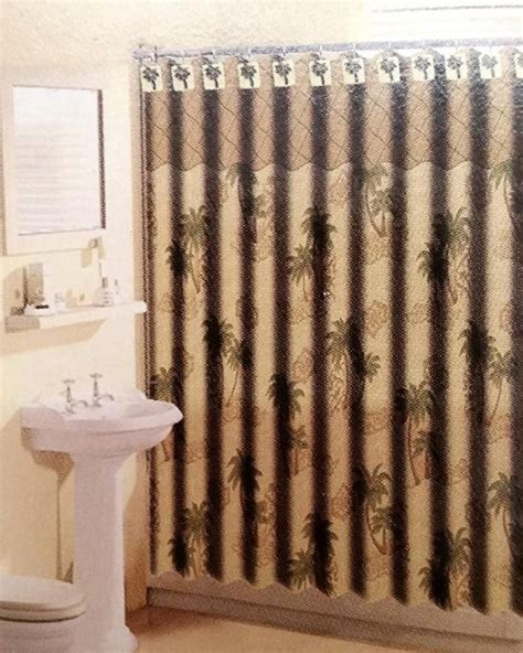 shower curtains with matching window curtains 13pc palm tree shower curtain green brown with 12 matching