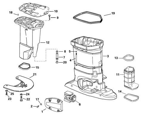 evinrude etec parts diagram evinrude exhaust housing parts for 2001 115hp e115fslsif
