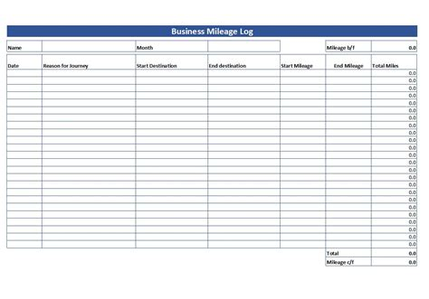 simple mileage log  mileage log template