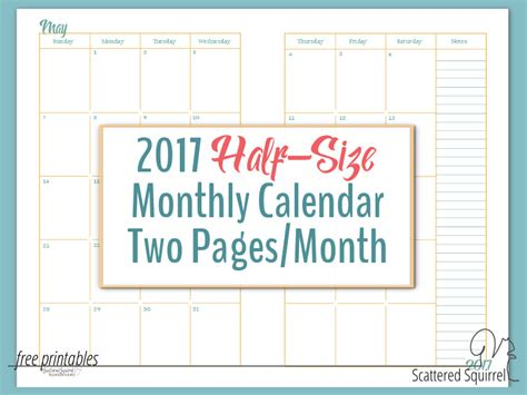 2017 Monthly Calendar Pages 2017 Half Size Monthly Calendar Printables