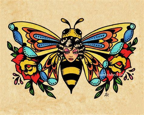 tattoo old school artist old school tattoo art bee beauty butterfly print 5 x 7 8 x 10