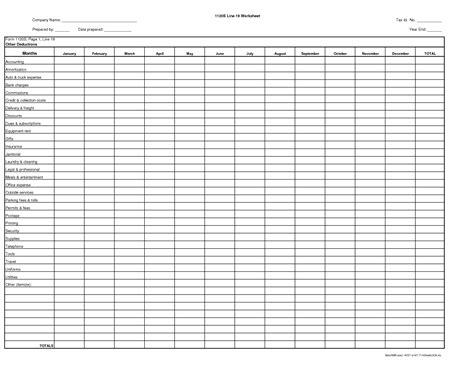Irs Itemized Deductions Worksheet