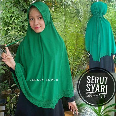 Jilbab Pita Serut Jumbo Syari kerudung serut syar i greenie sentral grosir jilbab
