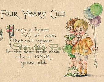 Happy Birthday Wishes 4 Year Boy Vintage Antique Happy Birthday Greeting Card Four Year Old