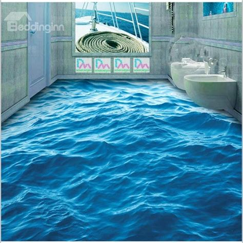3d floor 3d blue sea wave pattern pvc non slip waterproof eco