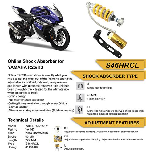 Shock Ohlins Yamaha R25 Ohlins Adjustable Rear Shock Ya467 Yamaha R3