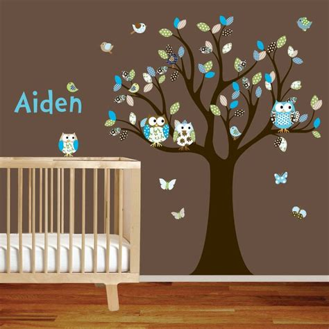 Target Nursery Decor Baby Nursery Decor Vinyl Decal Large Owl Nursery Stickers For Walls Baby Artistic Pattern Leaf
