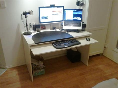 computer desk with pullout keyboard shelf add a keyboard tray to a besta desk ikea hackers