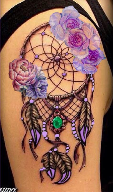 dream catcher tattoo with color lavender flower dream catcher tattoo tattoos pinterest