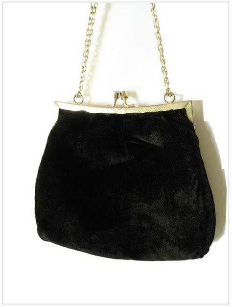 Silk Velvet Pearl Square vintage 40s black silk velvet evening bag with silver