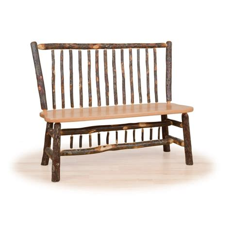 rustic bench with back rustic hickory and oak
