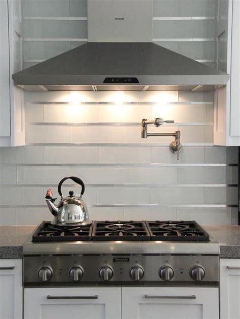 subway tile backsplashes hgtv white subway and stainless steel tile backsplash