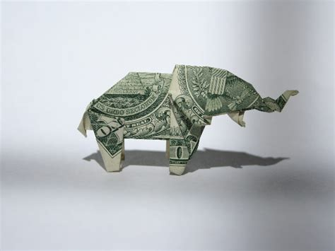 Elephant Money Origami - elephant origami 171 embroidery origami