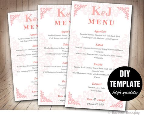 diy wedding menu template blush pink menu template diy wedding menu card