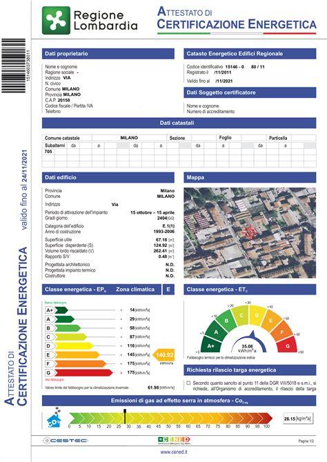 esempio certificazione energetica appartamento certificazione energetica appartamento da affittare