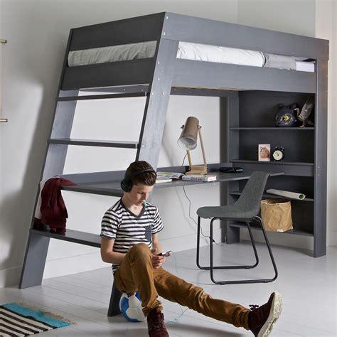 loft beds for kids with desk julien kids loft bed desk in brushed grey pine single beds cucko