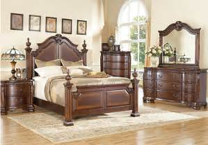 Rooms To Go Bedrooms Sets Cortinella King Cherry 5pc Poster Bedroom Bedroom Sets