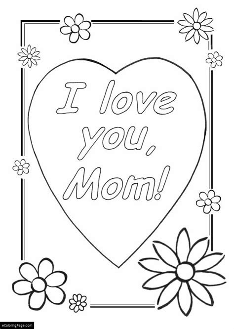 mothers day i love you mom printable coloring sheet