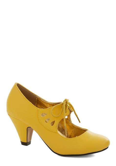 on the bright foot heel in yellow mod retro vintage heels modcloth