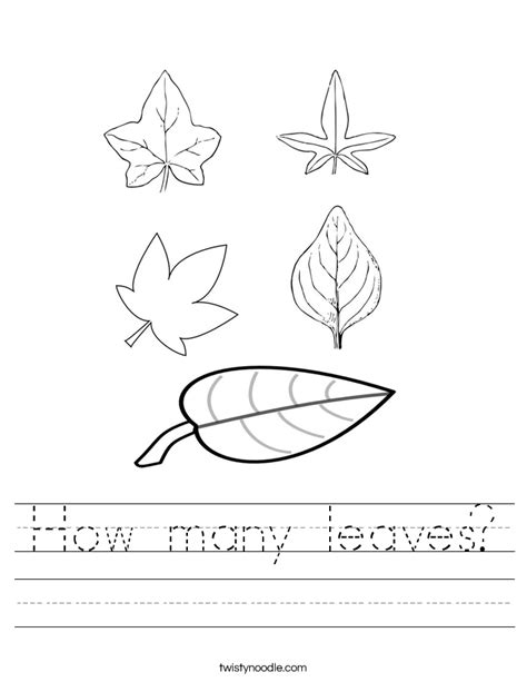 Parts Of A Leaf Worksheet by How Many Leaves Worksheet Twisty Noodle