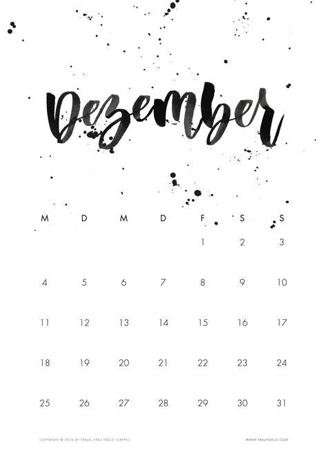 Kalender 2017 Dezember Brush Lettering Kalender 2017 Printable Frau H 246 Lle