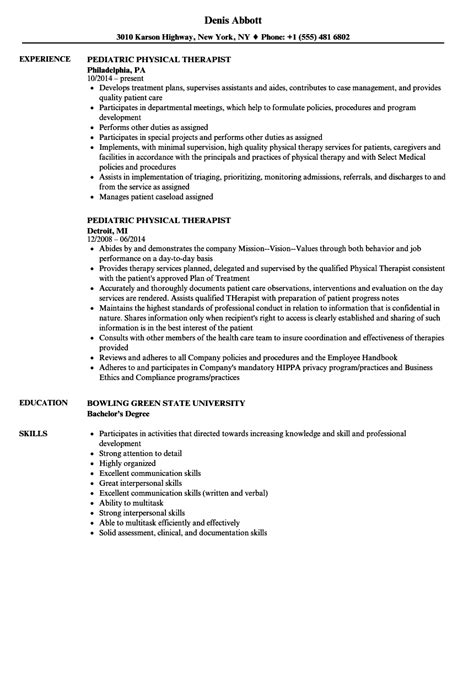 Physical Therapy Resume by Pediatric Physical Therapist Resume Sles Velvet